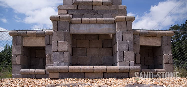 fireplace stone display
